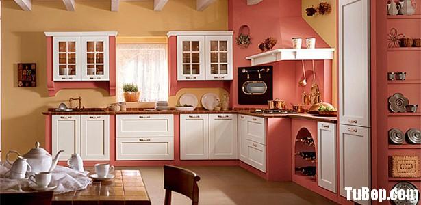 TỰ NHIÊN SƠN MEN 1 Tủ bếp gỗ Xoan đào sơn men màu trắng phối hồng TBT0490