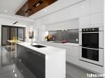 Tủ bếp Acrylic màu trắng chữ I có đảo TBT0540