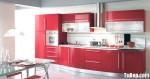 Tủ bếp gỗ Acrylic chữ I màu hồng TBT0600
