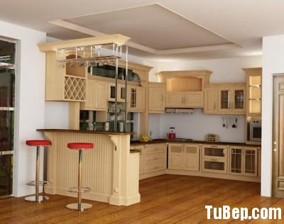 0607 Sồi Nga sơn men Tủ bếp gỗ Sồi Nga – TBB596