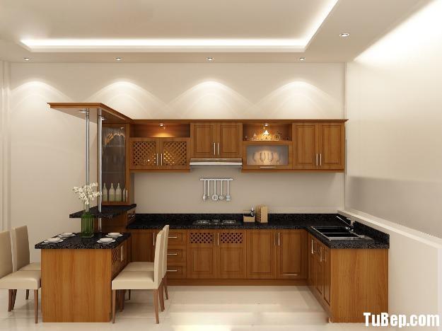 2707 5 Tủ bếp gỗ xoan đào có bàn bar – TBB520