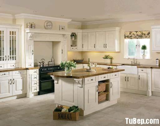 sơn men trắng Tủ bếp gỗ Sồi Mỹ sơn men trắng chữ L TBT0465
