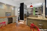 Tủ bếp Laminate màu xám phối đen chữ U có bar TBT0594