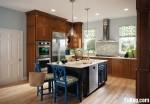 Tủ bếp gỗ tự nhiên chữ L có đảo TBT0544