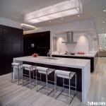 Tủ bếp gỗ Laminate màu nâu đậm chữ L TBT0568