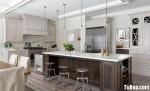 Tủ bếp gỗ tự nhiên sơn men trắng + bàn đảo – TBB497