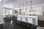 Tủ bếp Acrylic màu trắng chữ I có đảo TBT0595