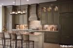 Tủ bếp gỗ Sồi sơn men màu xanh rêu đậm chữ I TBT0511