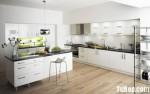 Tủ bếp gỗ MDF Acrylic kết hợp kệ âm tường và bàn đảo – TBB547