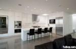 Tủ bếp Acrylic màu trắng chữ L có đảo TBT0552