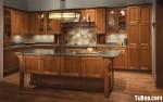 Tủ bếp gỗ tự nhiên chữ L có bàn đảo TBT0643
