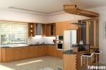 Tủ bếp gỗ Xoan Đào chữ L có quầy bar TBT0726