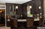 Tủ bếp gỗ Xoan đào sơn men đen chữ L có đảo vòng cung – TBB737