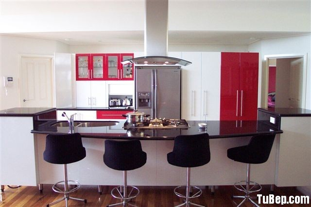 acrylic trắng đỏ Tủ bếp Acrylic có đảo   TBB668