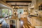 Tủ bếp gỗ Sồi sơn men trắng chữ L có bàn đảo TBt0653