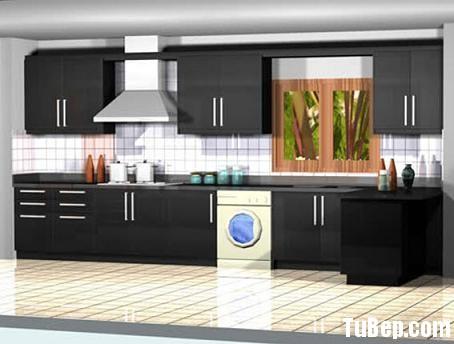 b2 Tủ bếp Acrylic màu đen chữ L TBT0641