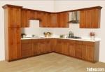 Tủ bếp gỗ Xoan đào tư nhiên chữ L TBT0649