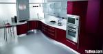 Tủ bếp Acrylic màu hồng chữ L – TBB678