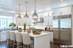 Tủ bếp gỗ tự nhiên sơn men trắng + bàn đảo – TBB636