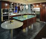 Tủ bếp gỗ Verneer đỏ chữ L kết hợp bàn đảo – TBB727