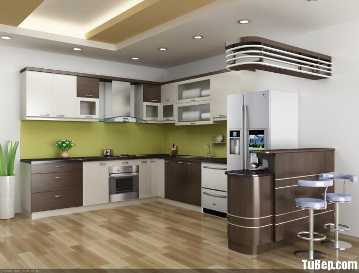 b1 Tủ bếp Laminate màu vân gỗ kết hợp trắng  chữ L có quầy bar TBT0640