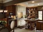 Tủ bếp gỗ tự nhiên chữ I sơn men trắng kết hợp vân gỗ – TBB791