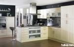 Tủ bếp gỗ Laminate màu trắng kem chữ L – TBB670