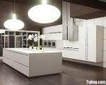 Tủ bếp gỗ Acrylic chữ I màu trắng có đảo TBT0779