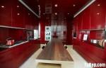 Tủ bếp gỗ Acrylic chữ I màu đỏ – TBB705