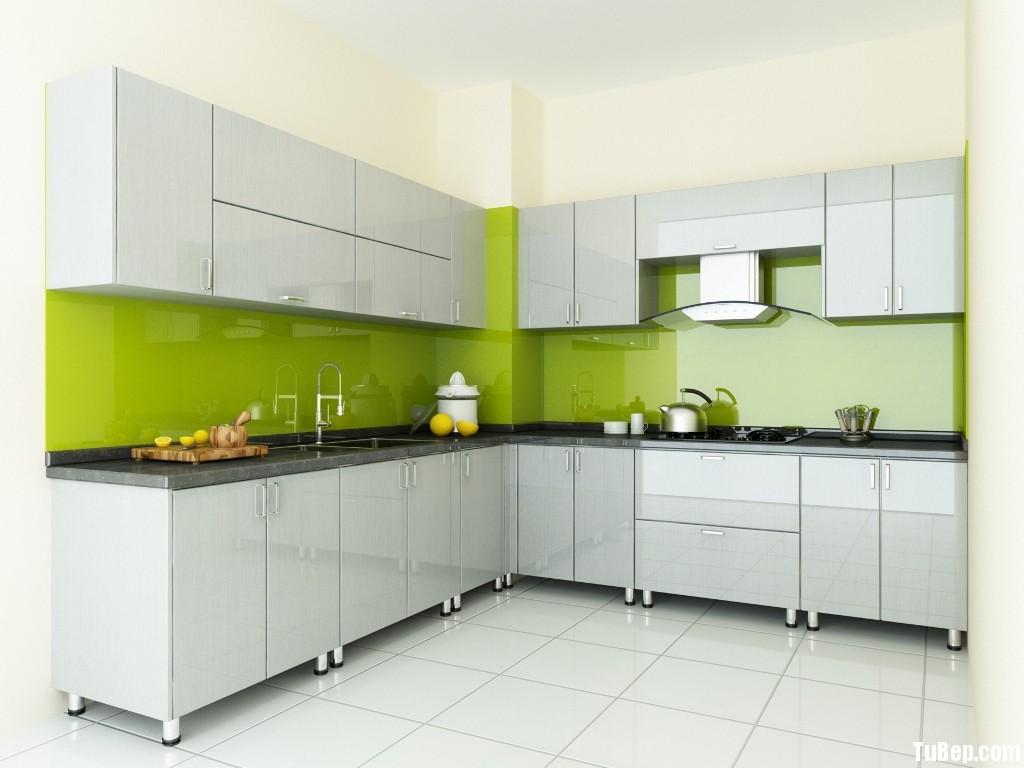 anh ngoc Tủ bếp gỗ Acrylic màu trắng kem chữ L TBT0670