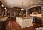 Tủ bếp gỗ tự nhiên chữ U có đảo TBT0667