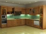Tủ bếp gỗ Tần Bì (Ash) chữ L – TBB677