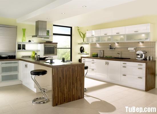 0607 acrylic Tủ bếp gỗ MDF Laminate kết hợp bàn đảo– TBB651