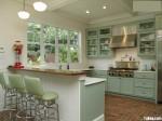 Tủ bếp gỗ tự nhiên sơn men màu xanh nhạt chữ L có bar – TBB783