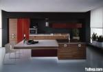 Tủ bếp gỗ Acrylic chữ I có đảo – TBB799