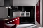 Tủ bếp Acrylic màu đỏ kết hợp đen chữ U có bàn đảo TBT0675