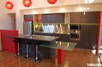 Tủ bếp gỗ Laminate chữ I màu xám đỏ – TBB765