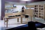 Tủ bếp gỗ Laminate chữ L màu vân gỗ nhạt –  TBB667
