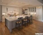 Tủ bếp gỗ tư nhiên sơn men trắng chữ I TBT0646