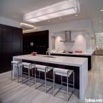 Tủ bếp gỗ Laminate màu nâu đậm chữ L – TBB0826