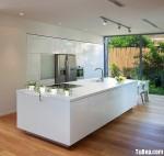 Tủ bếp Acrylic trắng chữ I có đảo – TBB0847