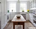 Tủ bếp gỗ Xoan Đào sơn men trắng chữ U TBT0447