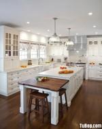Tủ bếp gỗ Xoan Đào sơn men trắng chữ L – TBB0958