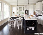 Tủ bếp gỗ Xoan đào tự nhiên sơn men trắng phối đen có đảo TBT0928