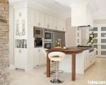 Tủ bếp gỗ tự nhiên sơn men trắng chữ I – TBB0835