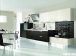 Tủ bếp gỗ Laminate chữ I màu trắng phối đen – TBB0848