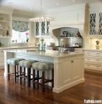 Tủ bếp gỗ Xoan đào sơn men trắng có đảo – TBB0900