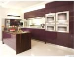 Tủ bếp gỗ Acrylic màu tím có đảo – TBB833