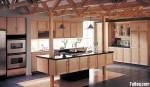 Tủ bếp gỗ Tần Bì có đảo – TBB0869