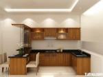 Tủ bếp gỗ Xoan Đào chữ L có quầy bar gắn liền – TBB0917